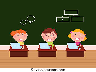 Children and school: Cute happy kids in classroom using...