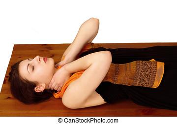 Reiki, energia, pescoço, posição