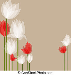 White tulips - Vector picture with white and red tulips on...