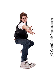 stylish dancer making a hip hop gesture - Young stylish...