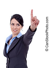 business woman pressing imaginary button - Business woman...