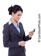 business woman texting on phone - Profile of young business...