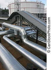 A lot of pipes on the territory of oil mill