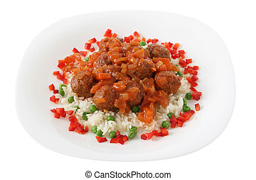 meatballs with boiled rice with pea