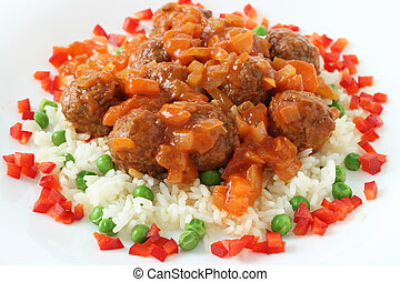 meatballs with boiled rice with p