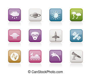Astronautics and Space and univerce Icons - Vector Icon Set