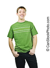 Smiling young man - Happy young man standing isolated on...