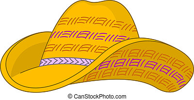 Straw hat - Yellow straw hat with the bent fields and the...