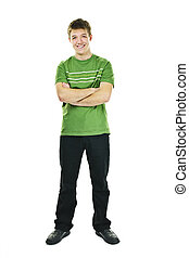 Happy young man with arms crossed - Happy young man full...