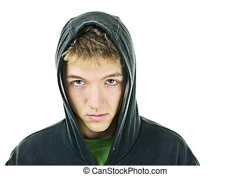 Young man with attitude wearing hoodie isolated on white...