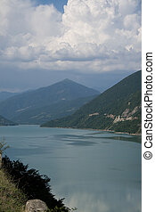 Lake in Caucasus mountains - Reservoir in Caucasus...