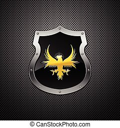 Shield. Vector. - Shield with eagle on a metallic...