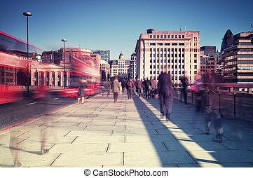 Commuters in London.