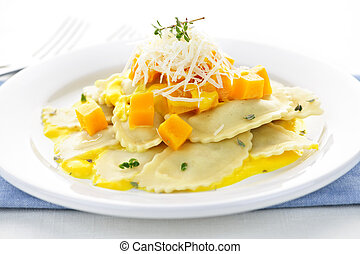 Ravioli dinner - Gourmet squash ravioli dinner served with...