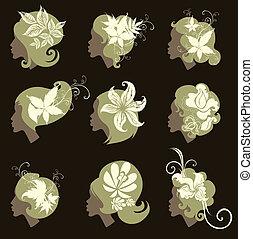 Vector set of vintage girls hair