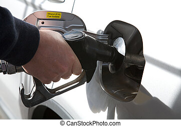 Gas or Petrol Pump Fuel - Gas or Petrol being filled into a...