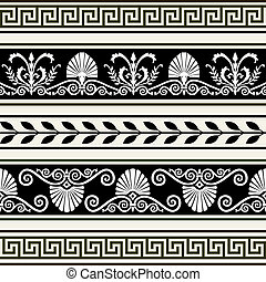 Set of antique borders - Decorative antique greek borders,...