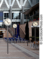 corporate clocks in Canary Wharf - Architecture and clocks...