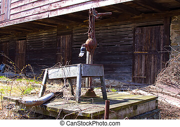 Rusty Old Water Pump - Rustic setting with old worn and...