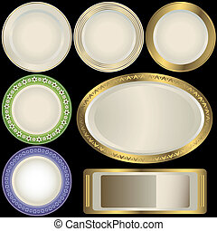 White plates with ornament