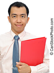 Asian mature business man of executive holding red folder of...