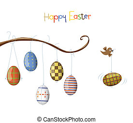Little bird and egg Easter illustration Vector, Eps 10