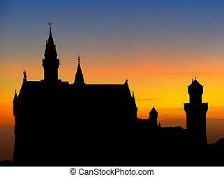 Neuschwanstein castle sunset - Silhouette of Neuschwanstein,...