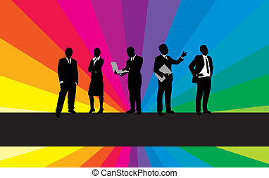 business people on a rainbow background