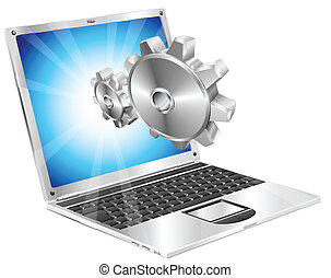 Gear cogs flying out of laptop screen concept - Gear cogs...