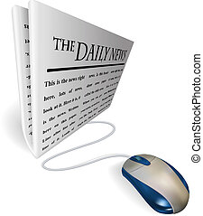 Mouse and news paper concept - A mouse connected to a news...