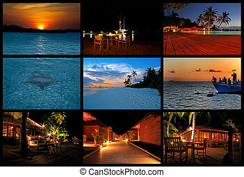 Nighttime - Collage of evening pictures from the Maldives