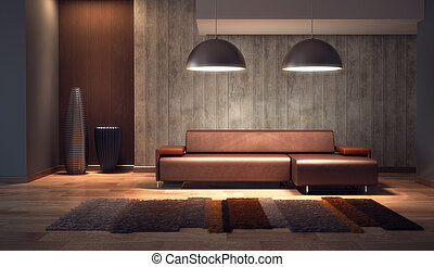 luxury lounge room 3d render