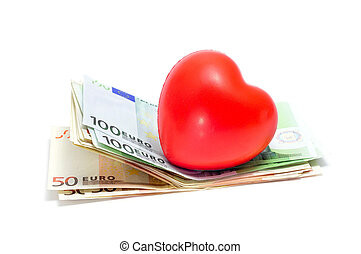 love for money - a red heart and some euro bills symbolizing...