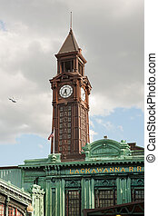 Hoboken terminal clock tower - Warrington Plaza and clock...