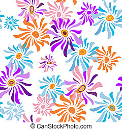 Floral white seamless pattern