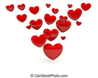 Red hearts isolated on white