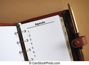 Business concepts Agenda list with numbers in a personal...