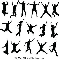 people jumping - jumping people silhouettes - vector