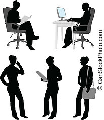businesswoman silhouettes - silhouettes of businesswoman -...