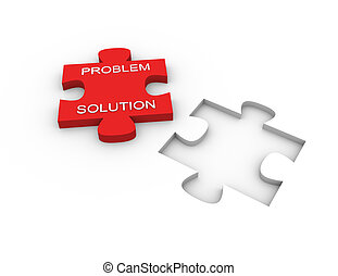 Puzzle solution - 3d render of problem solving concept