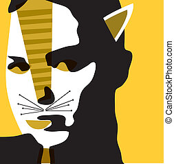 cat woman - vectorial illustration
