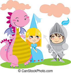 Magical Friends - Knight in steel armor talks with pretty...