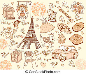 Collection symbols of Paris Hand drawing