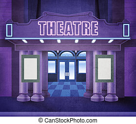 Outside theatre - Illustration of the entry of a theatre....
