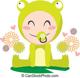 Baby Frog - Cute sweet baby boy wearing frog costume