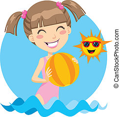 Beach Girl Play - Cute girl playing with beach ball on the...