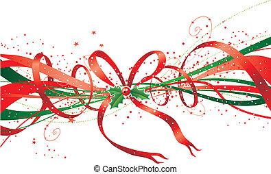 Christmas ribbon - Abstract christmas ribbon with stars, bow...
