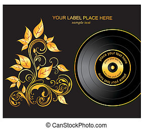 Vector illustration with plate and gold ornament