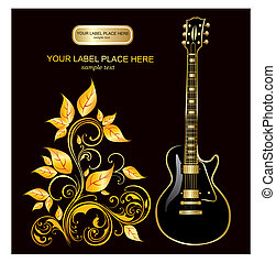 Vector illustration with guitar and gold ornaments