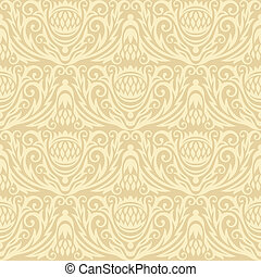 decoretive damask pattern backgroun - floral seamless gold...